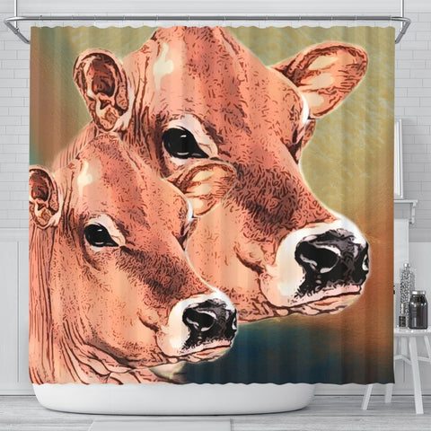 Jersey Cattle (Cow) Print Shower Curtain-Free Shipping