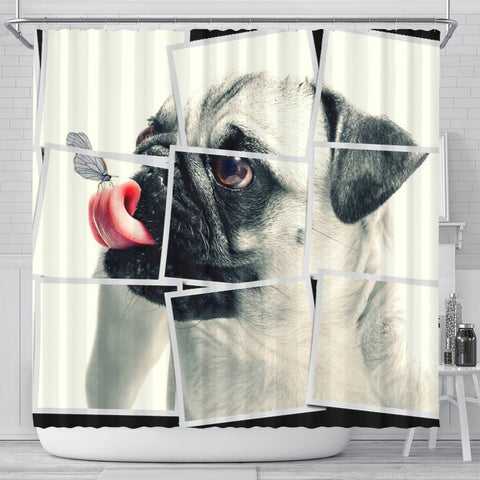 Cute Pug Dog Image Art Print Shower Curtains-Free Shipping