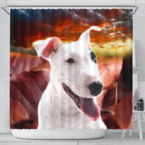 Cute Bull Terrier Print Shower Curtains-Free Shipping