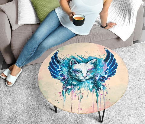 Cat Splash Art Print Circular Coffee Table