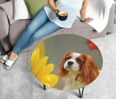 Cavalier King Charles Spaniel Print Circular Coffee Table