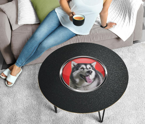 Alaskan Malamute Dog Black Print Circular Coffee Table