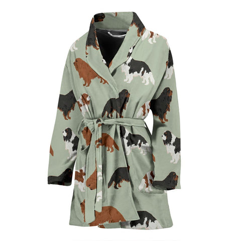 Cavalier King Charles Spaniel Dog Pattern Print Women's Bath Robe-Free Shipping
