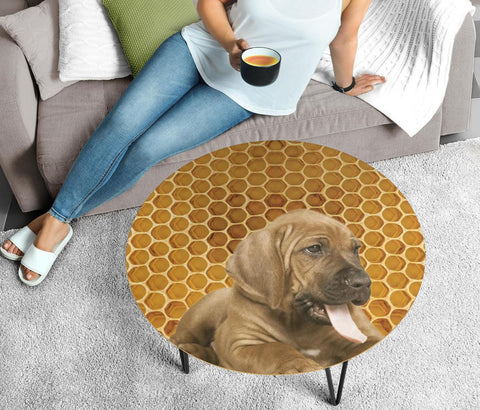 Bloodhound Print Circular Coffee Table