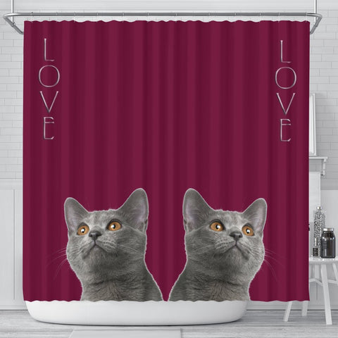 Chartreux Cat Print Shower Curtain-Free Shipping