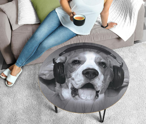 Beagle Print Circular Coffee Table
