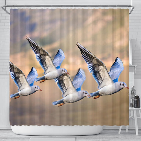 Seagulls Birds Flying Print Shower Curtains-Free Shipping