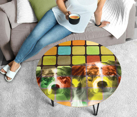 Australian Shepherd Print Circular Coffee Table