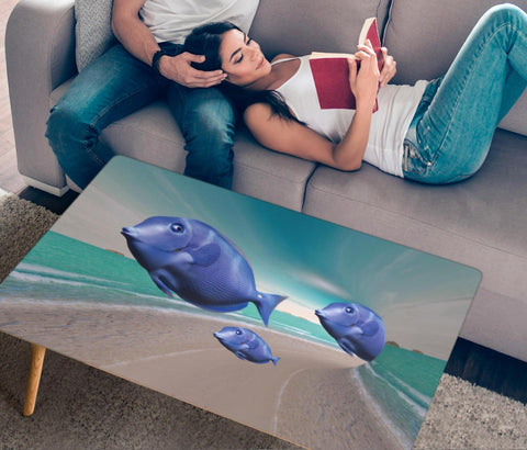 Blue Tang Fish Print Rectangular Coffee Table