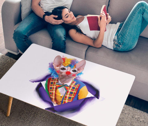 """Clown"" Sphynx Cat Print Rectangular Coffee Table"