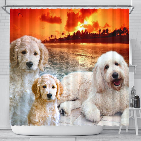 Goldendoodle Print Shower Curtains-Free Shipping