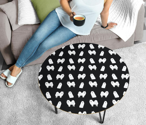 American Eskimo Dog Pattern Print Circular Coffee Table