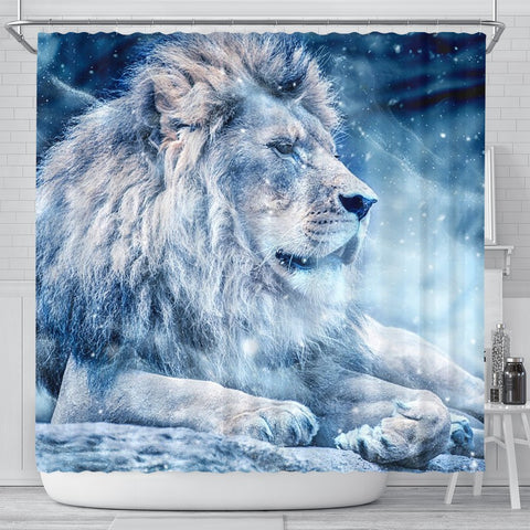 Snowy Lion Print Shower Curtains-Free Shipping