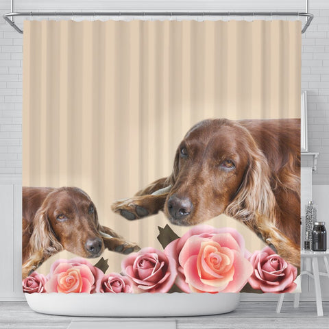Irish Setter With Rose Print Shower Curtain-Free Shipping