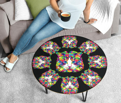 Cat Vector Art Print Circular Coffee Table