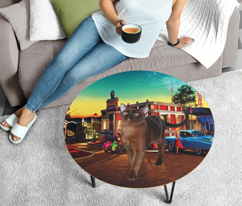 Burmese Cat Print Circular Coffee Table