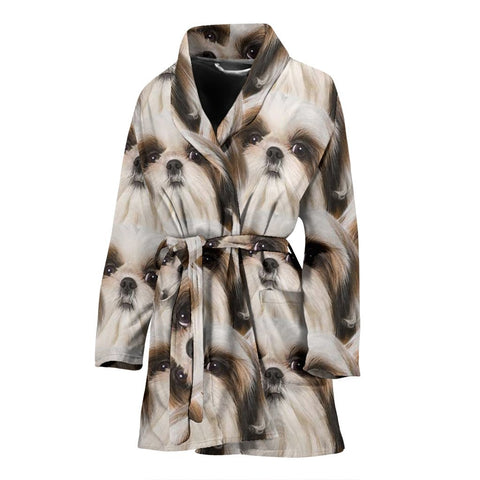 Shih Tzu Dog Patterns Print Women's Bath Robe-Free Shipping