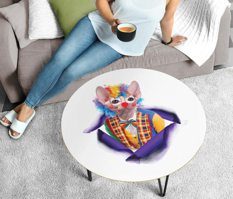 """Clown"" Sphynx Cat Print Circular Coffee Table"