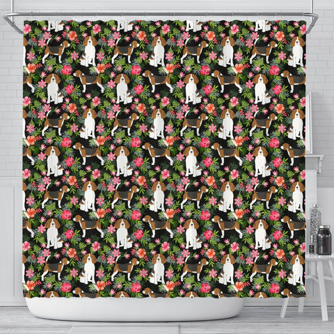 Beagle Dog Floral Print Shower Curtains-Free Shipping