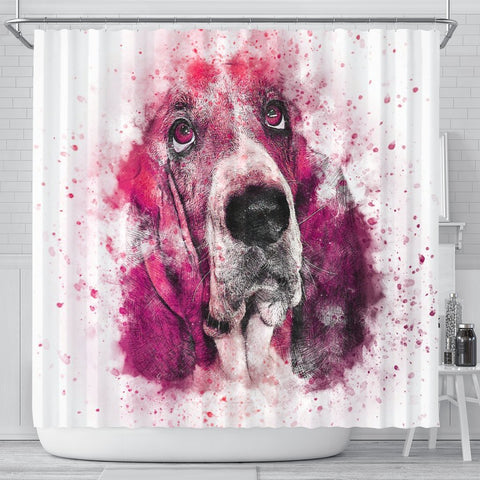 Basset Hound Dog Painting Print Shower Curtains-Free Shipping