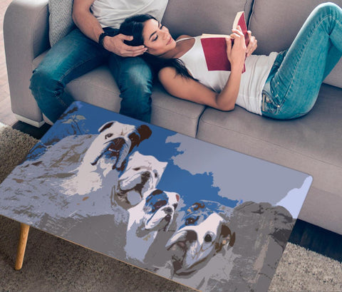 Bulldog Mount Rushmore Print Rectangular Coffee Table