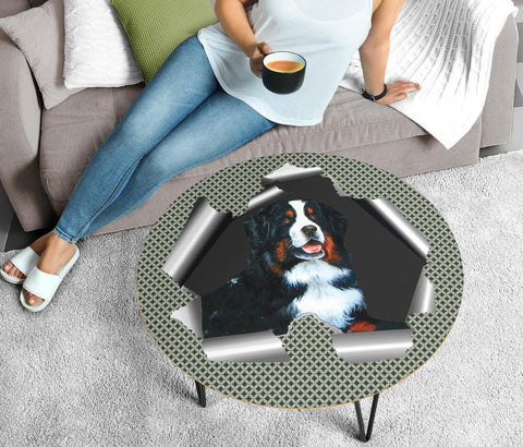Amazing Bernese Mountain Dog Print Circular Coffee Table