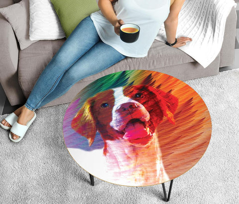 Brittany Dog Print Circular Coffee Table