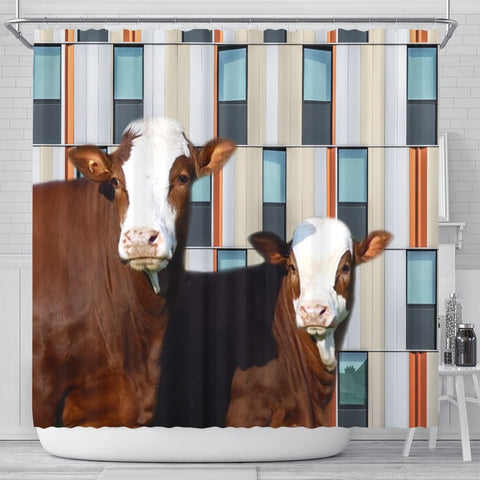 Simmental Cattle (Cow) Print Shower Curtain-Free Shipping