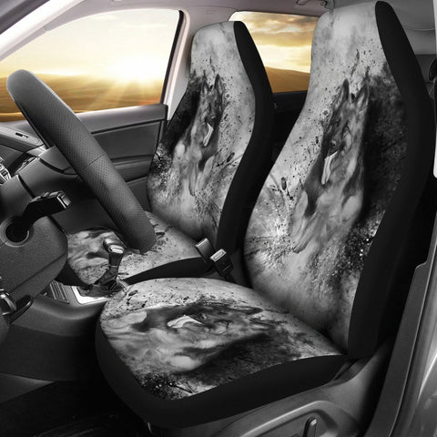 German Shepherd B/W Print Car Seat Covers-Free Shipping