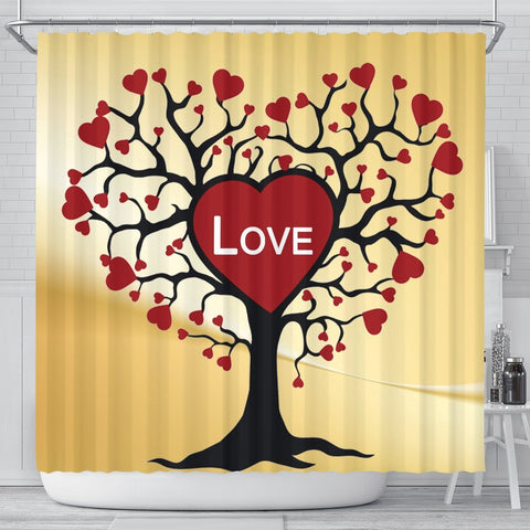 Love Tree Print Shower Curtain-Free Shipping