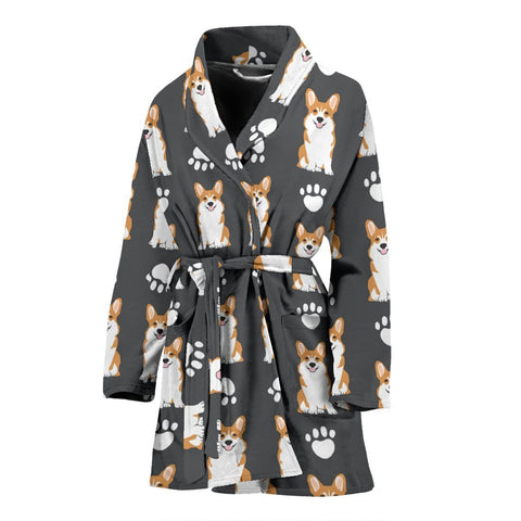 Pembroke Welsh Corgi Print Women's Bath Robe-Free Shipping