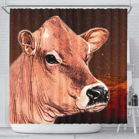 Cute Jersey Cattle Cow Print Shower Curtain Free Shipping That