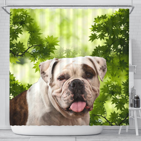 American Bulldog On Green Print Shower Curtain-Free Shipping