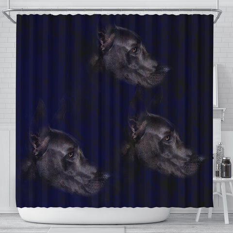 Black Great Dane Dog Art Print Shower Curtains-Free Shipping