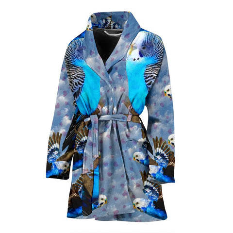 Blue Budgie Bird Print Women's Bath Rob-Free Shipping