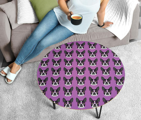 Boston Terrier Dog Pattern Print Circular Coffee Table
