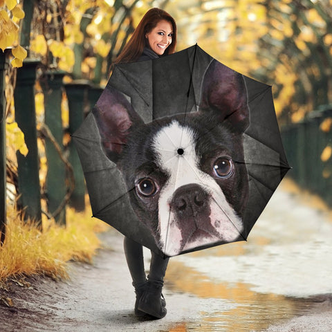 Boston Terrier Black Print Umbrellas
