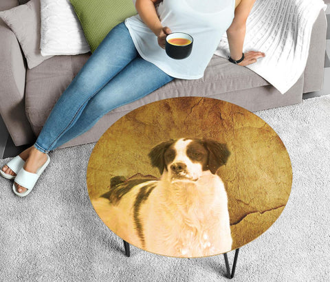 Brittany Dog Print Circular Coffee Table-Limited Edition