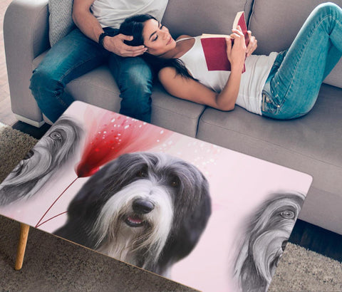 Amazing Bearded Collie Print Rectangular Coffee Table