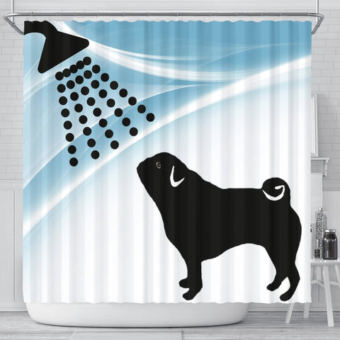 Cute Pug Dog Bath Print Shower Curtain-Free Shipping