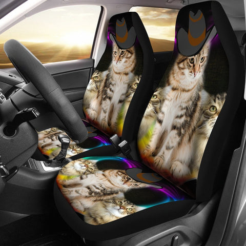 Cute Siberian Cat With Hat Print Car Seat Covers-Free Shipping