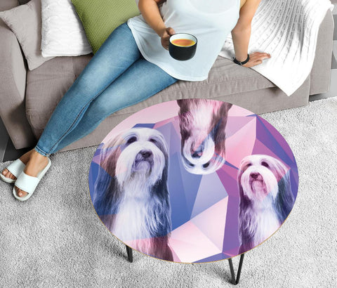 Bearded Collie Print Circular Coffee Table