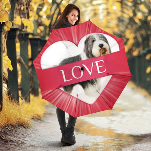 Bearded Collie Love Print Umbrellas