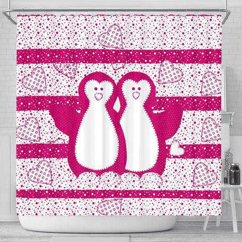 Cute Penguin Bird Print Shower Curtain-Free Shipping