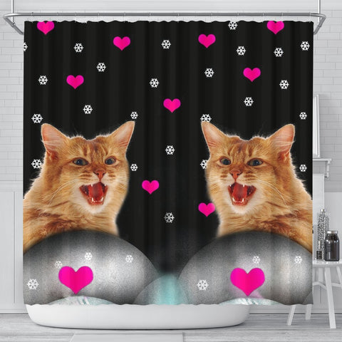Somali cat Print Shower Curtain-Free Shipping