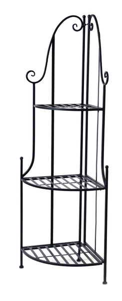 Iron Etagere corner 3 layer M.Black L43W30H125