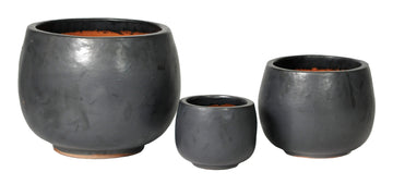 Glazed Pot Bowl Matt Black S3 D27/53H18/38