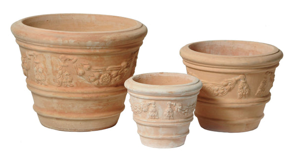 Whitewash Pot Coni With Garland S3 D26/46H20/33