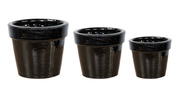 Glazed Basic Pot Shiny Black S3 D18/38H15/30