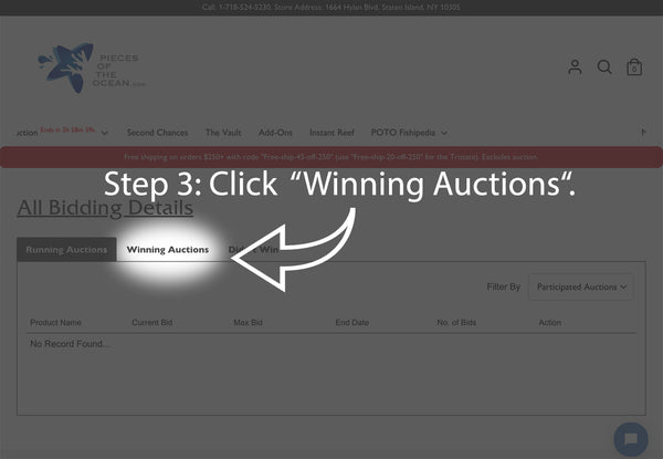 How to pay for your auction items - Step 3